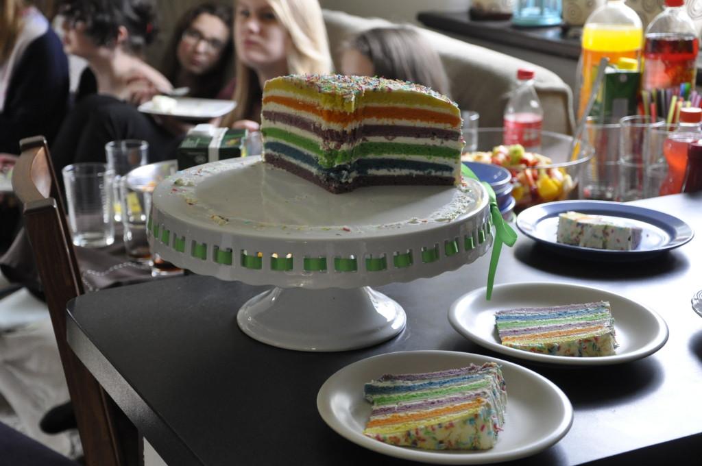 Tęczowy tort urodzinowy